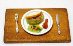 画像1: Discontinue・販売終了:サーモンサンド・丸皿